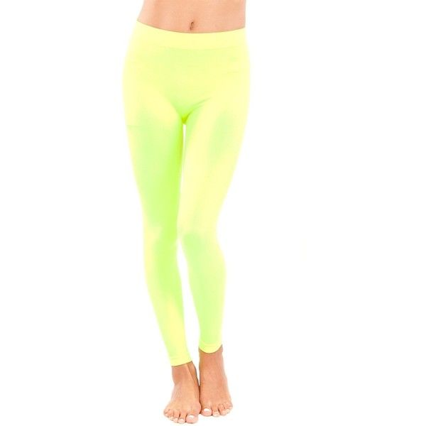 Woman Neon Yellow Seamless Leggings Full Length ❤ liked on Polyvore featuring pants, leggings, white trousers, white legging pants, full length leggings, white leggings and white pants