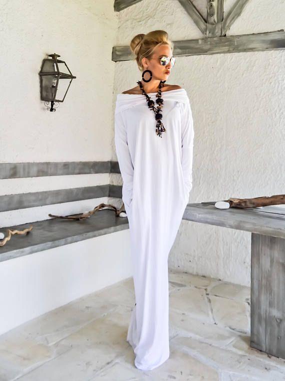 White Maxi Long Sleeve Turtleneck Dress with pockets / White Kaftan / Asymmetric Plus Size Dress / Oversize Loose Dress / #35217
