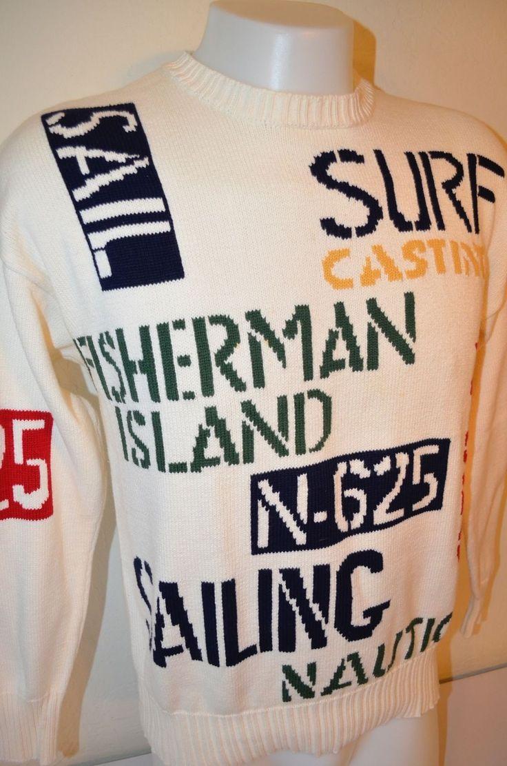 Sailing clothing sailing trousers amp shoes for men sailing clothes - Nautica Surf Sail Sailing Fisherman Island Hip Hop Retro Vtg L Knit Sweater