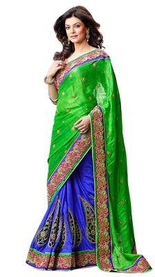 Gorgeous Embroidered Dual Color Wedding Saree Sarees on Shimply.com