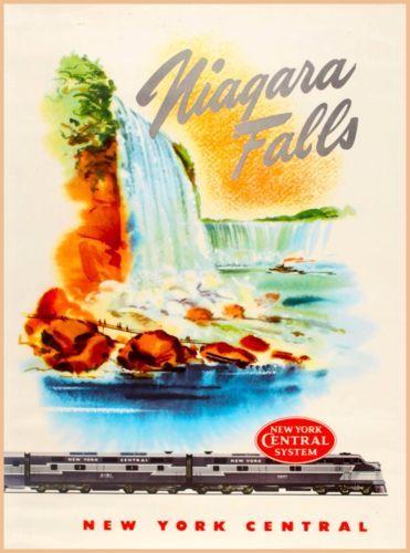 Niagara-Falls-New-York-Central-Railroad-Vintage-United-States-Travel-Poster