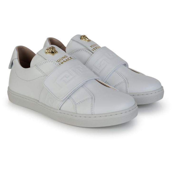 Young Versace Boys White Leather Sneakers with Velcro Strap and Gold Detailing