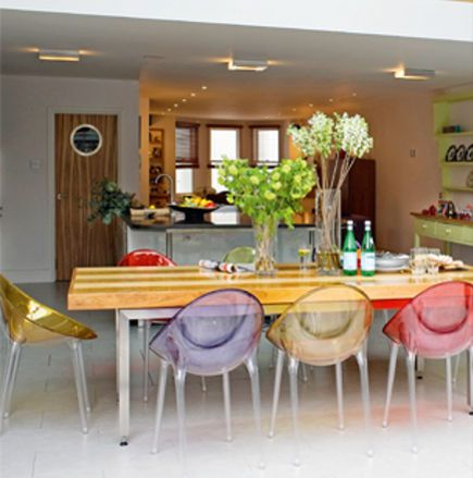 kartell mr impossible mixed color chairs around a wood dining table home pinterest shape. Black Bedroom Furniture Sets. Home Design Ideas