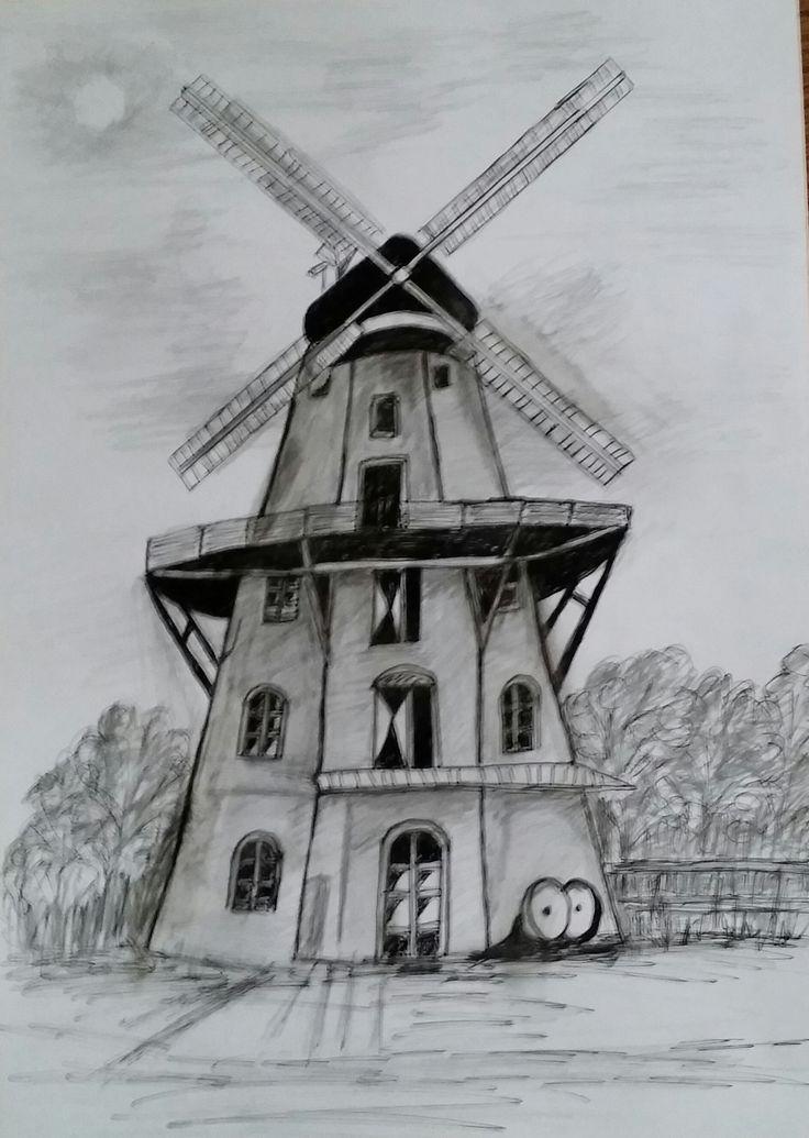 194_Windmühle, Fineliner/Bleistift, 20x30 cm