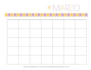 Calendarios gratis para imprimir. Hay un calendario para cada mes y puedes personalizarlos a tu gusto. Sirven para cualquier año!: Calendario de Marzo