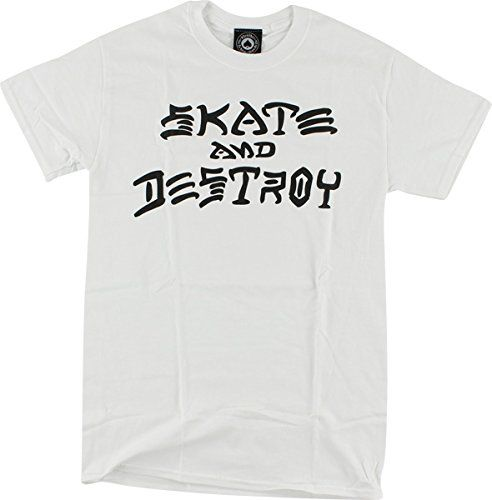 Thrasher Magazine Skate and Destroy White TShirt  Large ** Click on the image for additional details.