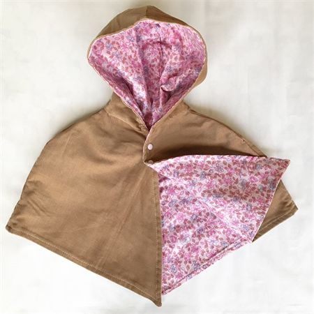 Kids reversible winter cape size 000 - 00 tan cord outer pink floral lining