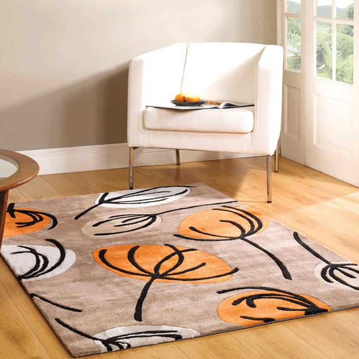 High Quality Infinite Inspire Fifties Floral Rugs In Orange Are Handmade In China With A  Luxurious, Polyester Pile. The Bold, Contemporary Design Offers Quality And  ...