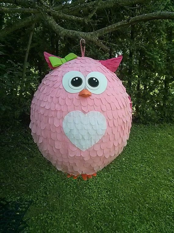 Owl pinata. Pink Owl Cutie by PinataVille on Etsy, $80.00