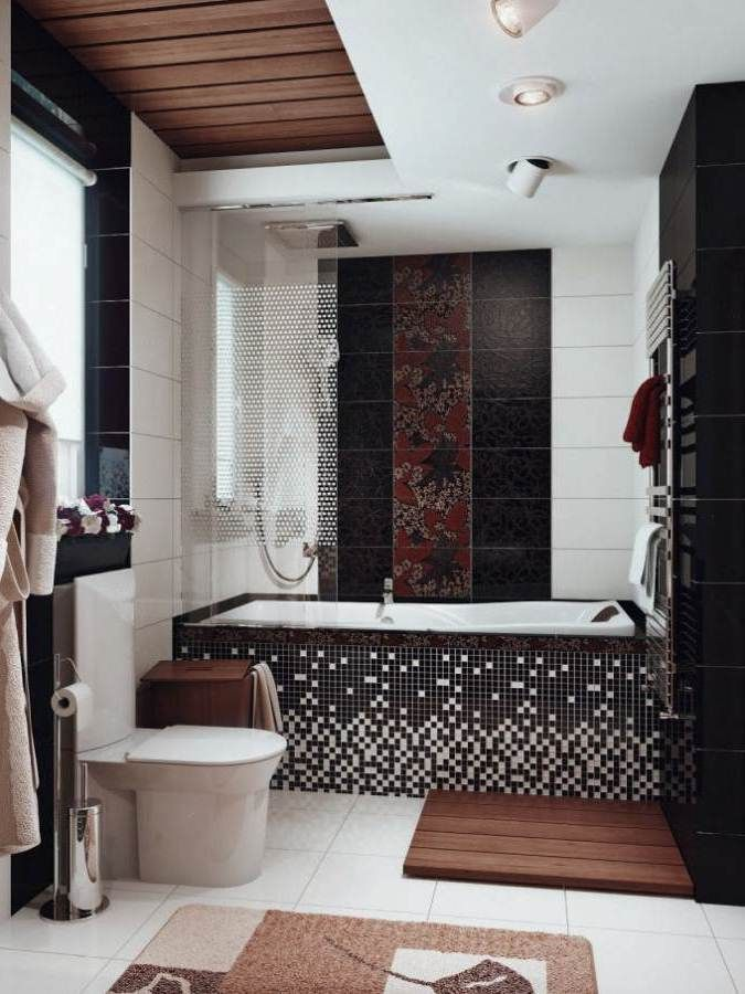 seriously awesome black tiles on bathtub small bathroom idea with black mosaic tiles and chic decor