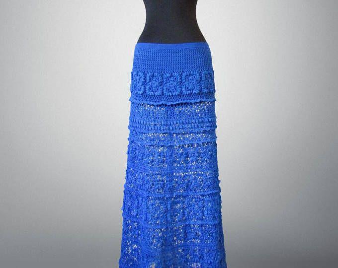 Falda azul del Kelly de ganchillo. Falda de ganchillo de algodón azul piso longitud. Listo para enviar. De envío gratis.