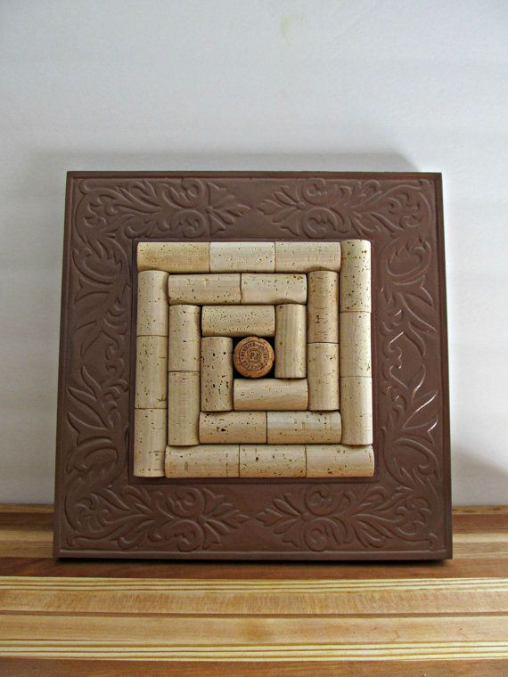 Wine Cork Trivet Copper Wood Frame Upcycled от LizzieJoeDesigns