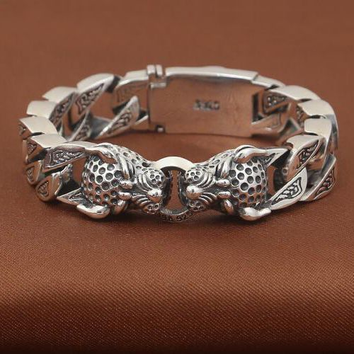 men 39 s sterling silver leopard curb chain bracelet just. Black Bedroom Furniture Sets. Home Design Ideas
