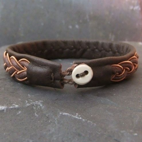 sami bracelets | Sami Bracelet- with Copper & Leather Braid on Brown Leather