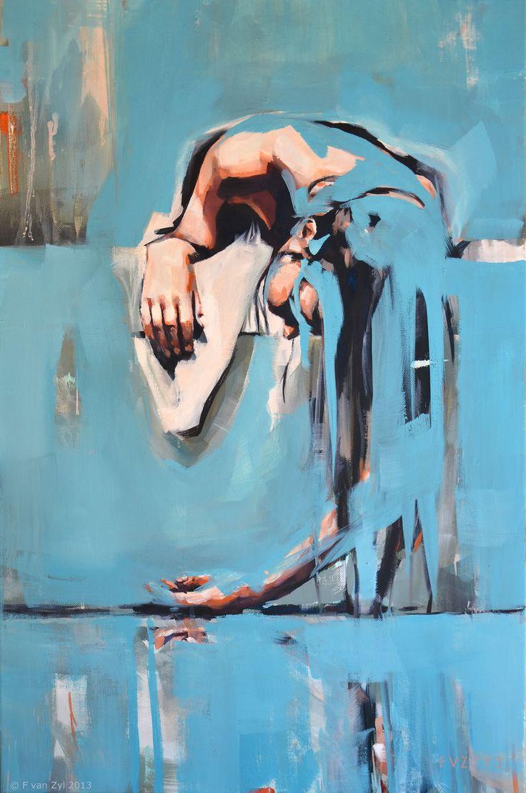 Nude in Bath, 501mmW x 762mm H, Oil on canvas, F van Zyl 2013 SOLD
