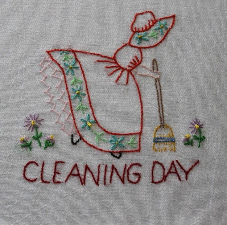 "Hand Embroidered ""Girl"" Flour Sack Kitchen Dish Towels Set of 7 