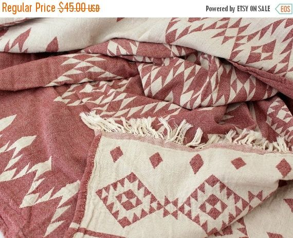 SALE Aztec Throw Blanket  Navajo Picnic Blanket  by onTheRainbow