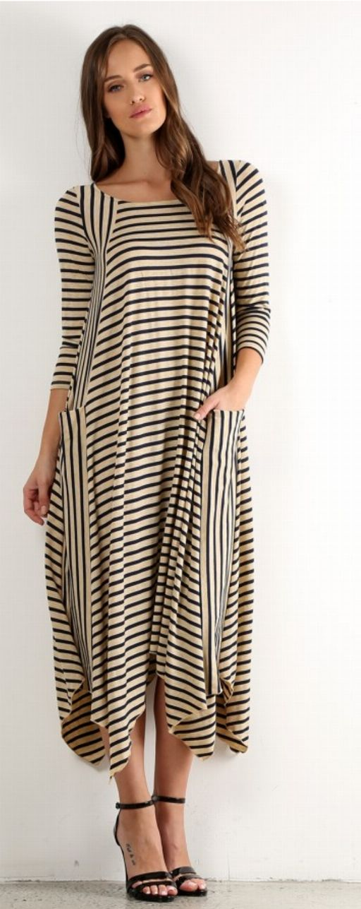 Tan and Navy Stripes Asymmetrical Dress