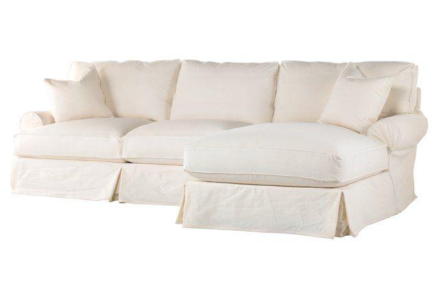 Comfy Sectional, Antique White Linen 5300 Kingslane