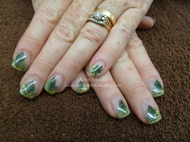 Gel nails, glitter and peacock NailGrafx.  Love!