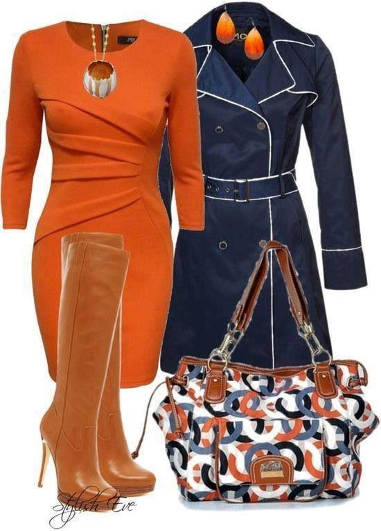 Navy blue & burned orange outfit