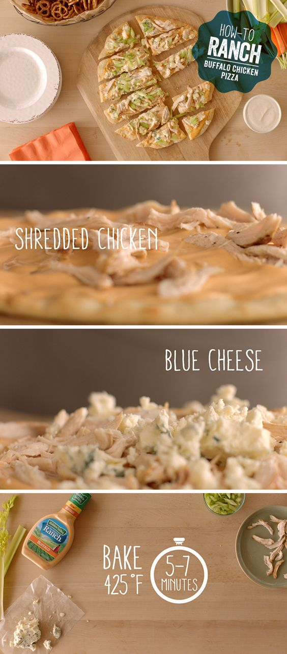 Why wait to put ranch on your pizza when you can literally BAKE. IT. IN!   Recipe link: http://hiddnval.ly/Klx9tK