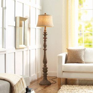 Better Homes and Gardens Rustic Floor Lamp, Distressed Wood Could this look be recreated on a pair of brass lamps?