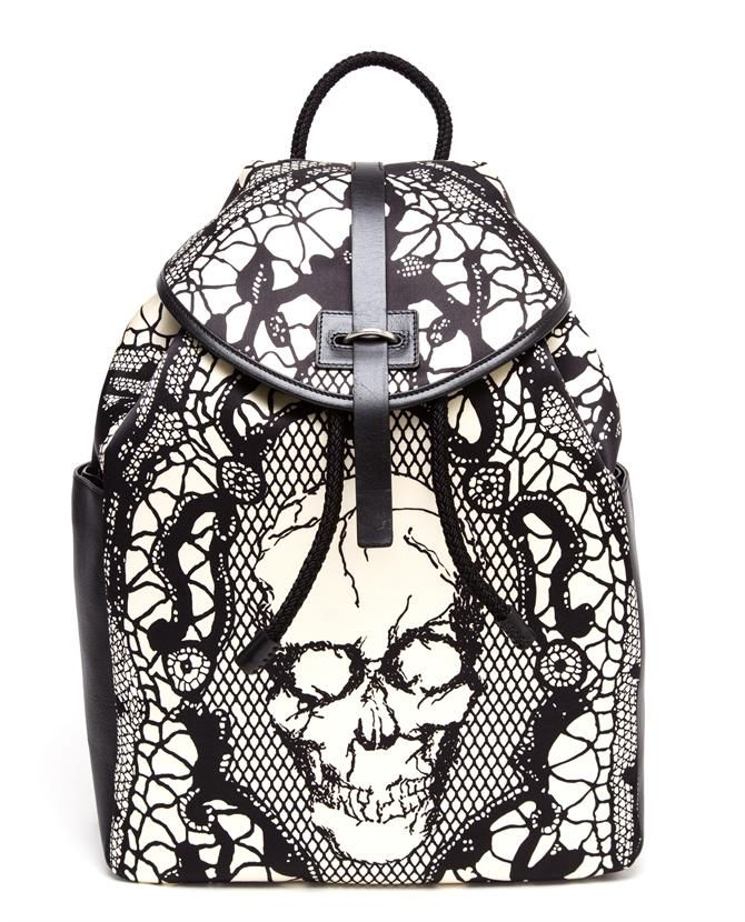 ALEXANDER MCQUEEN | Lace Skull Printed Silk Satin Backpack