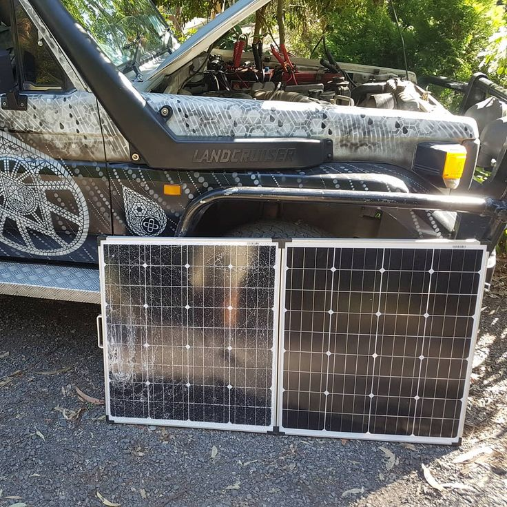 #Troopy - 1 #Solarpanel - 0  Cord for the panel got caught in the radiator fan. The panel shot into the troopy quicker than lightning.... #expensive #mistake