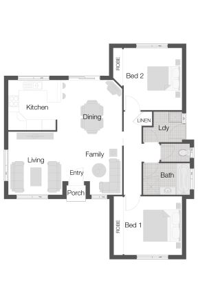 Ashgrove 97 floor plan by Wilson Homes - Unit/Villa Collection - Featuring a well equipped kitchen kitchen and built-ins, this unit is versatile to suit the first home buyer through to the retiree. #unitfloorplan #wilsonhomes