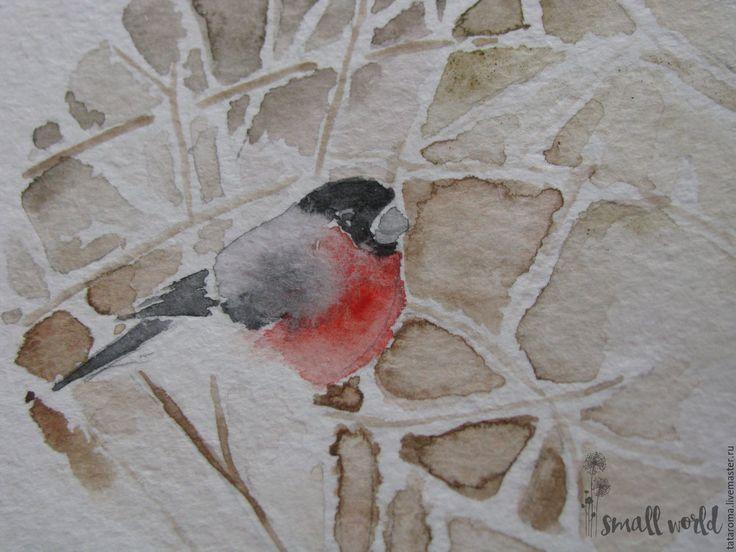 """Купить Авторская открытка """"Снегирь"""" - белый, акварель, акварельный рисунок, снегирь, зима 2016"""