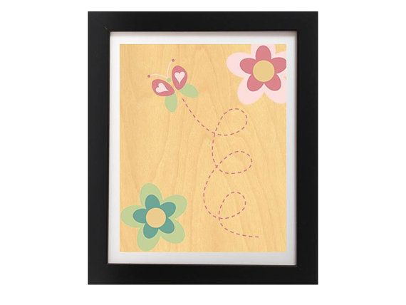 Butterfly and Flowers Printed On Real Wood  by TheWoodPaperShoppe