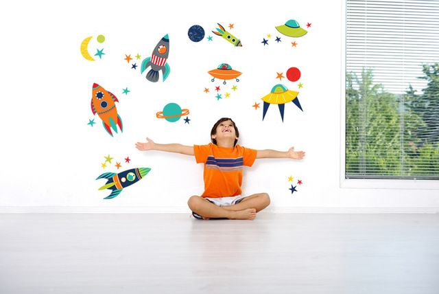 Blast Off Wall Decals contemporary kids decor