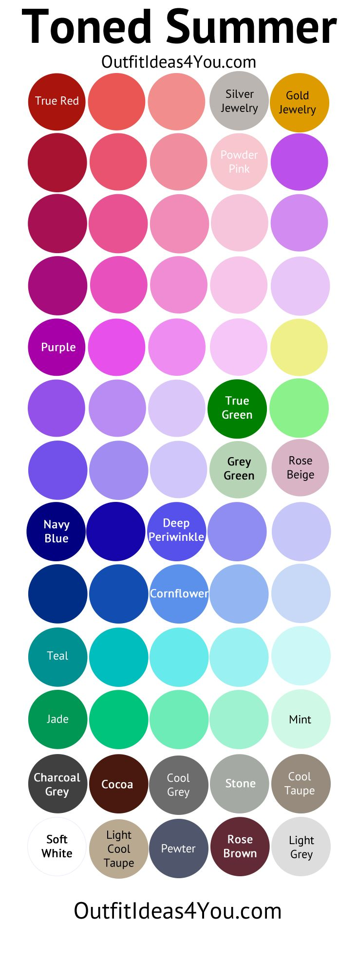 Toned Summer Color Palette (Soft Summer Light)   Best Colors (info. from a site diff. from this pin):  Grey, slate grey, charcoal, light desert sand, khaki, taupe, icy pink, rose, soft fuchsia, red-violet, raspberry, sea green, evergreen, emerald green, aqua, light aqua, true aqua, lavender, dusty purple, warm dusty purple, periwinkle, navy.