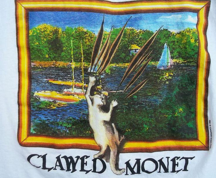 Clawed Monet Cat Pun T Shirt Xl 100 Cotton Usa Made