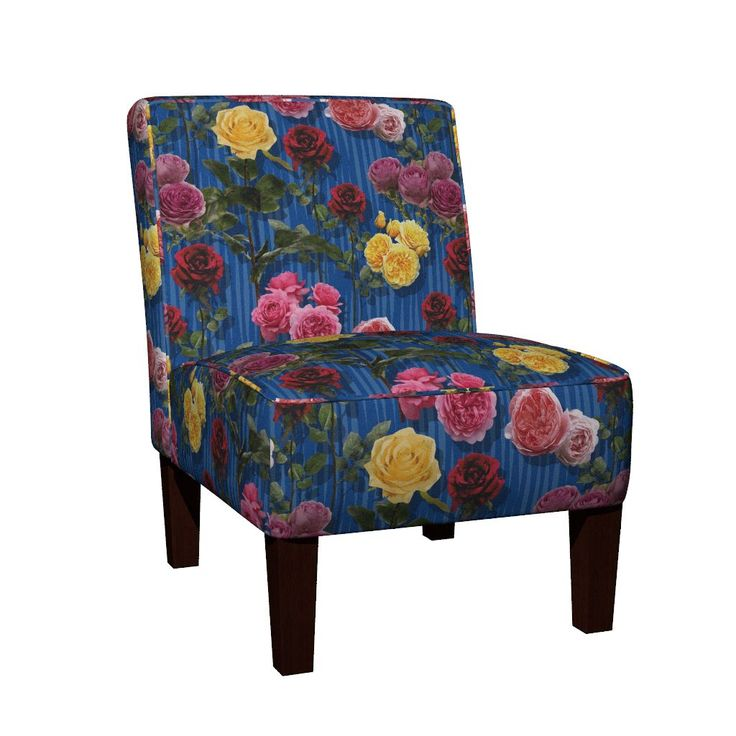 Maran Slipper Chair featuring Blue roses by angelfraser   Roostery Home Decor