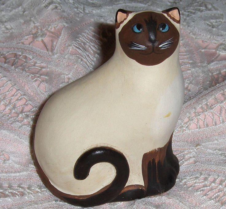 Vtg Artisan Siamese Kitty Cat Figurine Blue Eyed Art Pottery Siamese Kitten 1989