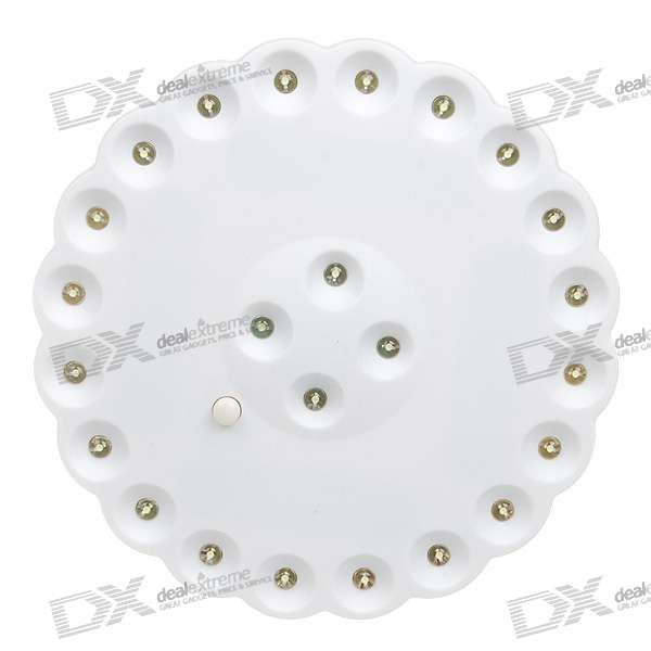 Plastic material - 24-LED white light - 2 modes for power saving - Powered by 4*AA batteries (included) - Light weight, portable, good for outdoor camping http://j.mp/1ljHTmL