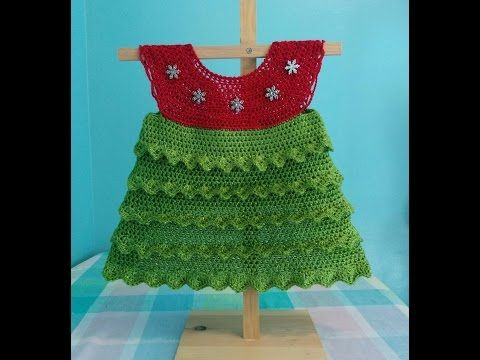 How to Crochet a Christmas Tree Holiday Baby Dress Tutorial - YouTube