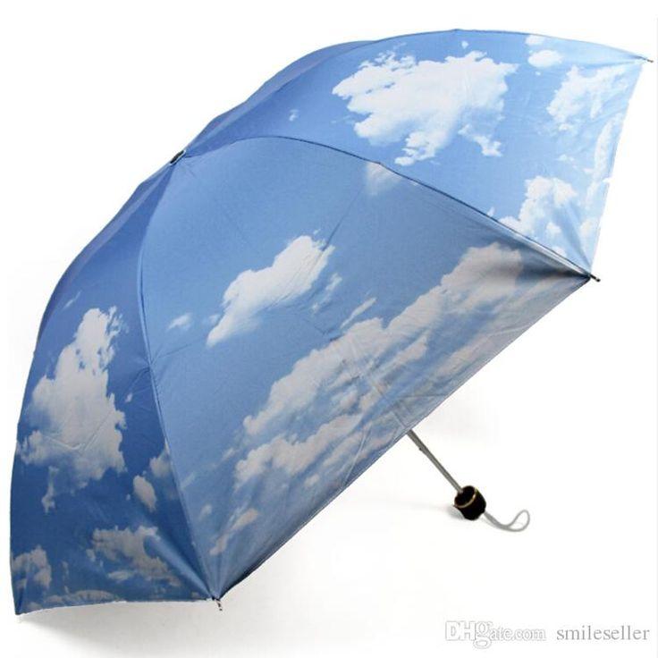 Best Quality Hot Sale Super Anti Uv Sun Protection Umbrella Blue Sky 3 Folding Gift Parasols Rain Umbrellas For Women Men Kt0047 Smileseller At Cheap Price, Online Umbrellas   Dhgate.Com