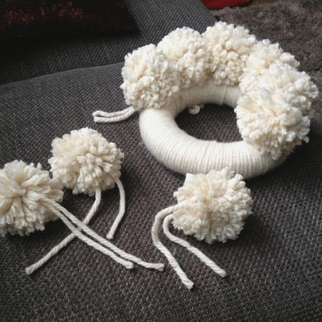 anthropologie christmas pom pom wreath tutorial----love this so much!