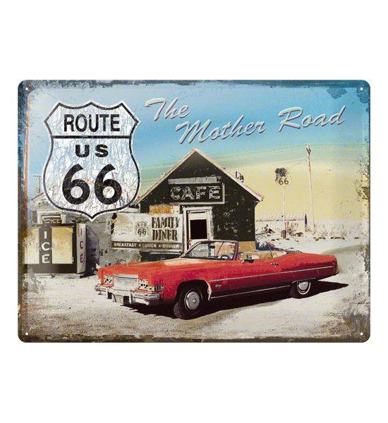 Mooie nostalgische wandplaat van een Caddilac en de Route 66. De wanddecoratie is ongeveer 30 x 40 cm en is gemaakt van metaal.