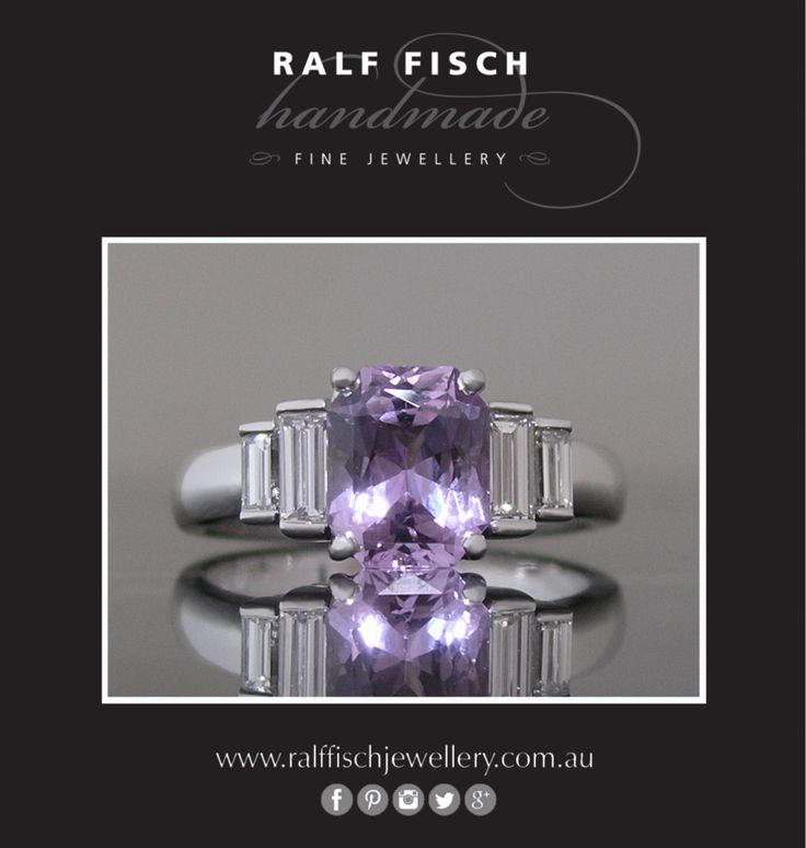 18ct white gold handmade engagement ring with mauve radiant cut sapphire centre, framed by baguette cut diamonds. The unusual cut proportions and pale mix of purple and pink in the sapphire makes this ring a wonderfully individual piece.