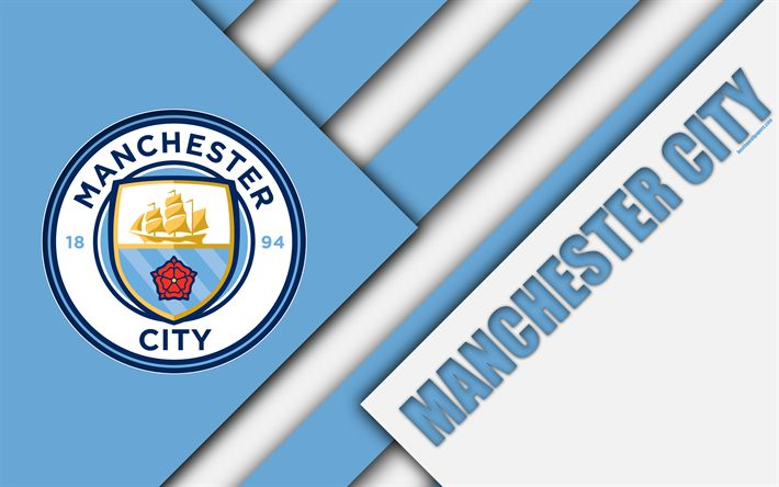 Download wallpapers Manchester City FC, logo, 4k, material design, blue white abstraction, football, Gorton, Manchester, England, UK, Premier League, English football club