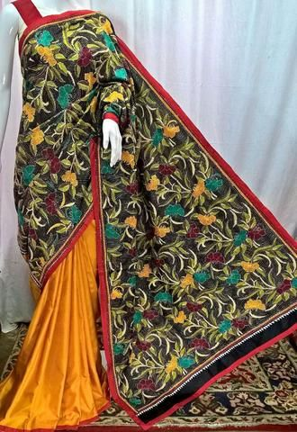 Yellow Bangalore Silk Saree with Kantha Work - NEW