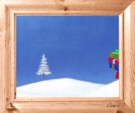 """gif animé noël: père noel marche dans la neige, les bras remplis de présents: """" joyeuses fêtes """""""