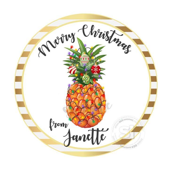 "Christmas Pineapple Printable 2.5'' Tags-Pineapple Christmas Wishes Personalized Tags-DIY (You Print) 2.5"" tags-Digital File"