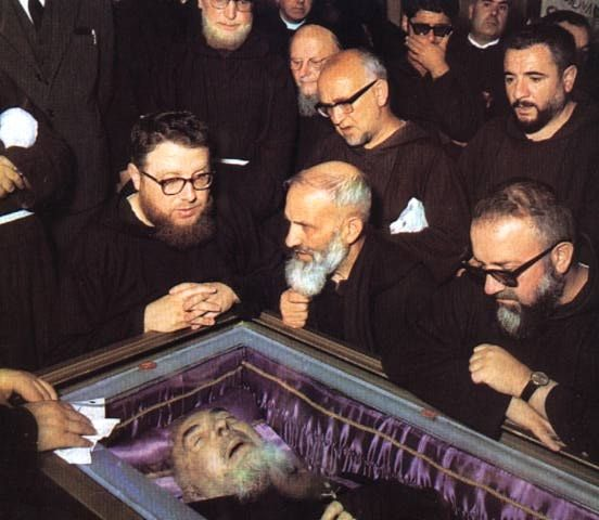 ST. Padre Pio Born May 25, 1887 Pietrelcina, Benevento, Italy Died September 23, 1968 (aged 81) San Giovanni Rotondo, Foggia, Italy Honored in Roman Catholic Church Beatified May 2, 1999, Rome, Italy by Pope John Paul II Canonized June 16, 2002, Rome, Italy by Pope John Paul II Major shrine San Giovanni Rotondo, Italy (where he lived and is now buried) Feast September 23 Patronage civil defense volunteers, Catholic adolescents,