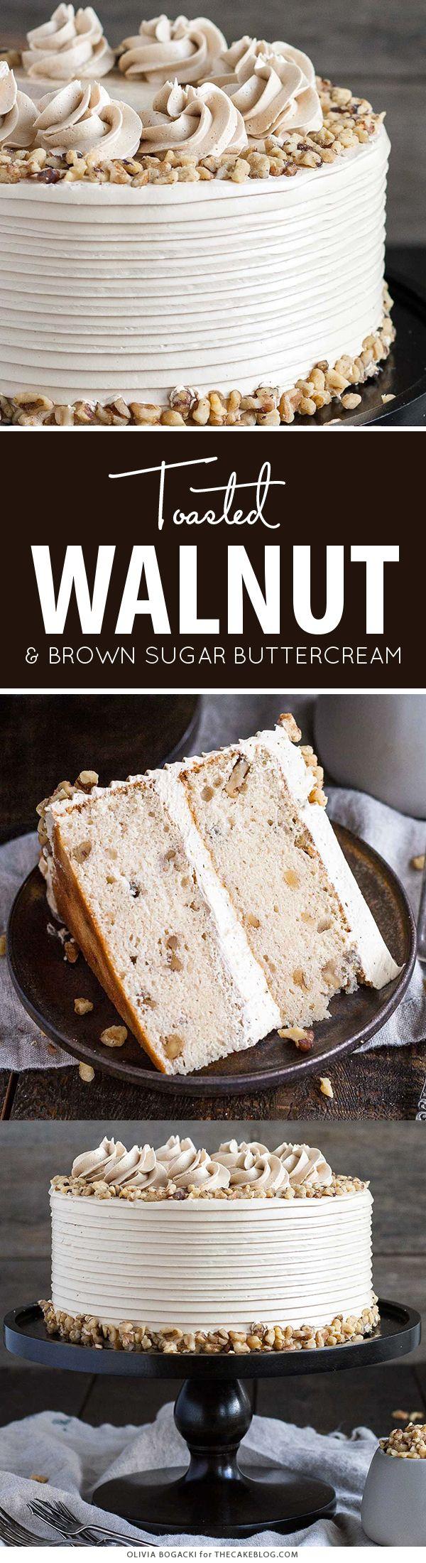 Torta de la nuez con el azúcar marrón crema de mantequilla    por Olivia Bogacki para TheCakeBlog.com