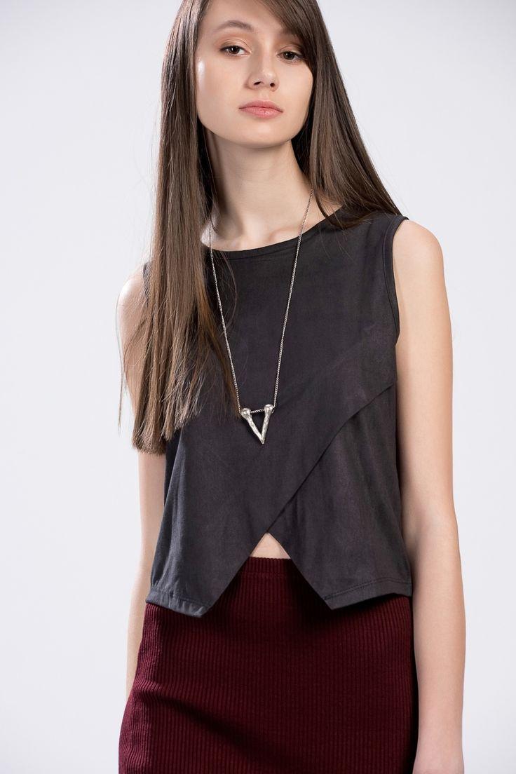 Modagram Japon Stili Karine Bluz Süet Siyah, Üst Giyim Modelleri